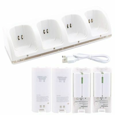 4 Rechargeable Battery + 4 Charging Station Dock for Wii Remote Controller White