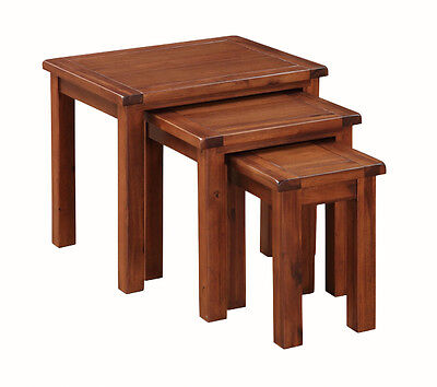 Prussia Acacia Nest of Tables / Solid Dark Wood Coffee Table Set / Lamp Tables