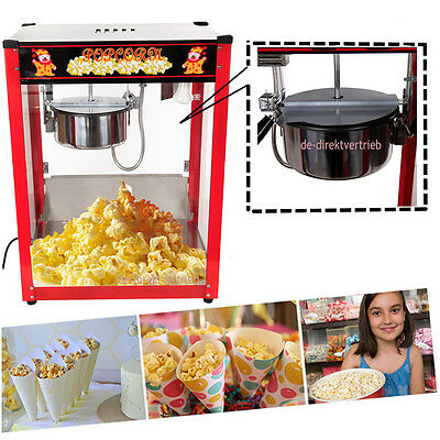 8oz 1370W Tempered Glass Panels  Red Bar Table Top Popcorn Popper Maker Machine