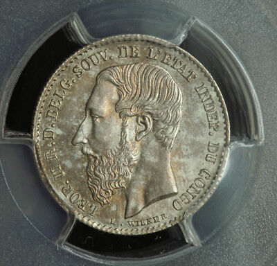 1887, Congo (Free State), Leopold II. Silver 50 Centimes (½ Franc). PCGS MS-65!