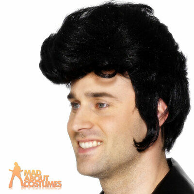 Mens Elvis Rock Star Wig Black Quiff Danny Grease Fancy Dress Costume Accessory