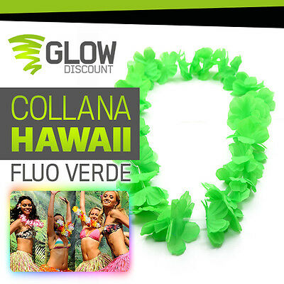COLLANA HAWAII FLUO VERDE collane hawaii hawaiana party fluo luminosi glow 30347