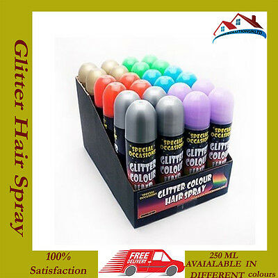 12 X Special Occasions Glitter In 6 Different Colours Temporary Hair Spray 250ml