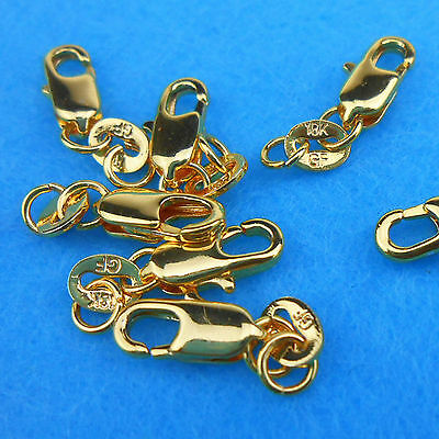 Wholesale 10P Jewelry Connector 18K Yellow Gold Filled Lobster Clasps Necklaces