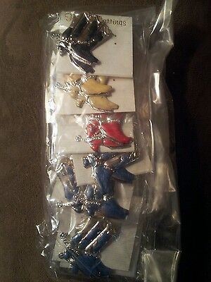 Wholesale! Lot of 12 western boot cowboy cowgirl earrings red blue black cream