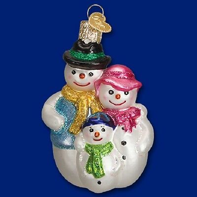 """""""Snow Family"""" (24158) Old World Christmas Glass Ornament"""