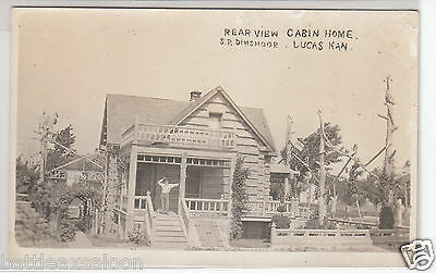 RPPC - Lucas, KS - Dinsmoor Cabin Home - early 1900s