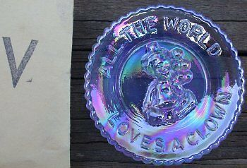 """Mosser Glass Old Mini PeeWee Clown Plate WILLOW BLUE CARNIVAL Made in Ohio """"V"""""""