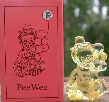 Mosser Glass Old PeeWee Clown GOLD KRYSTAL YELLOW Glass Made in Ohio Letter R