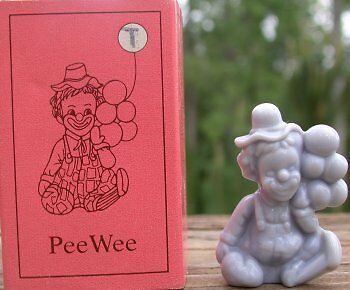 Mosser Glass Old PeeWee Clown HEATHER GREY Glass Made in Cambridge Ohio Letter T