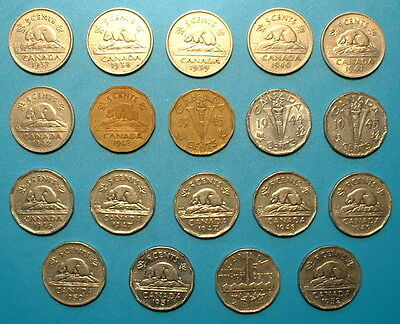 CANADA 5 CENTS  SET 1937 TO 1952 **19pcs**