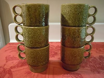 70's green floral coffee cup set  in original box stack-able with tree sealed