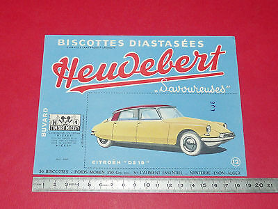 Buvard Heudebert Biscottes Diastasees Automobile Citroën Ds 19 Timbre Mickey