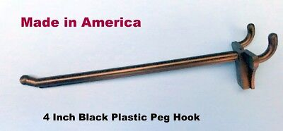 "(50 PACK) 4 Inch Black Plastic Peg Hooks For 1/8'"" & 1/4"" Pegboard (Made in USA)"