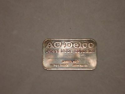 Ac Delco General Motors Silver, Ten 1 Oz. Bar Ingot, .999 Silver, Liberty Mint