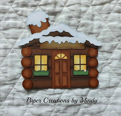 Winter Cabin title premade paper piecing for scrapbooking embellishment