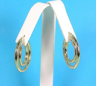 QVC EternaGold 14K Yellow Gold Earrings Double Round Hoops