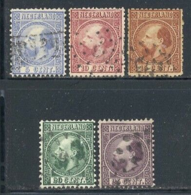 Netherlands 1867-1870 5c to 25c King William Perf Varieties Selection Used $172