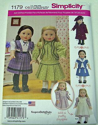 """Simplicity 1179 18"""" Girl Doll Clothes American Sewing Pattern Dress Coat Hat"""