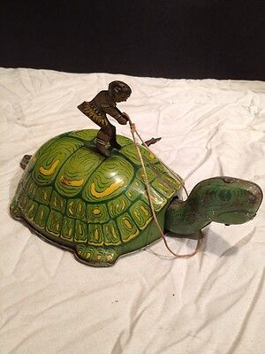 Vintage J. Chein Native Riding A Turtle Tin  Wind Up Mech. Toy. Working
