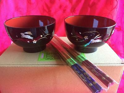 Japanese Rice Bowl Set For Two With Chop Sticks
