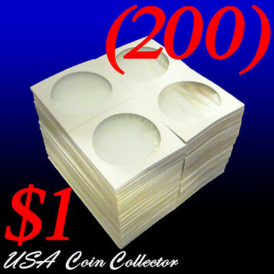 (200) Large Dollar Size 2x2 Mylar Cardboard Coin Flips for Storage | $1 Holder