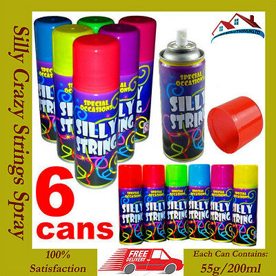 6 x Silly Crazy Strings Can Birthday Wedding Stag Hen Party Colour Spray