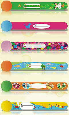 3-6 pack child safety wrist band kids ID infoband waterproof reuseable wristband