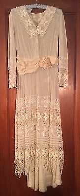 Antique White Edwardian Lace Netting Handkerchief Dress Stunning! c. 1919