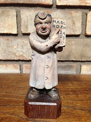 RARE 1958 TORIART ANRI ITALY HAND CARVED WOOD SCULPTURE OCULIST DOCTOR 11801/7