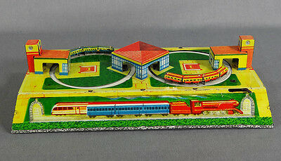 VINTAGE RUSSIAN WIND UP TIN TOY TRAIN STATION RAILWAY RR ROLLER COASTER