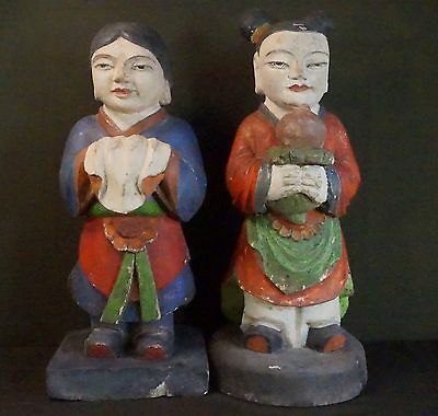 Very Rare Pair of Korean Polychrome Wood Dong Ja 18~19th Century Joseon Dynasty