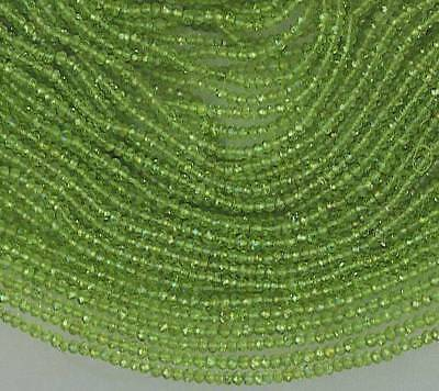 """Micro Faceted PERIDOT 2mm Rondelle Gemstone Beads 13.25"""" Str Top Quality A+++"""
