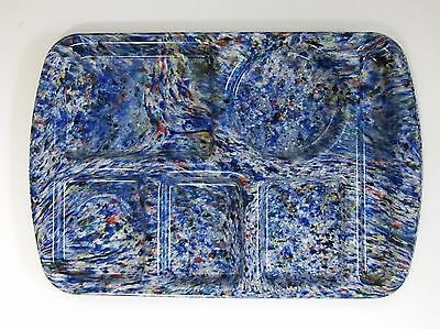 One (1) Prolon Ware School Lunch Tray- Speckled- Vintage- Color - Vibrant Blue