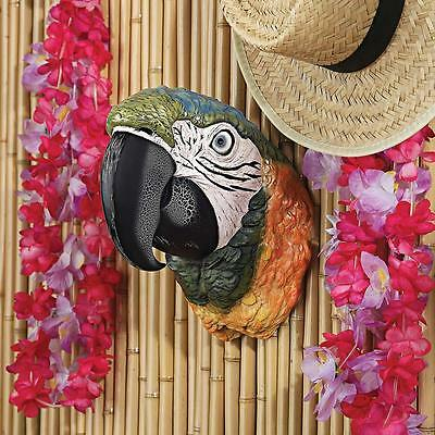 COLORFUL TROPICAL PARROT HEAD WALL SCULPTURE Bar Trophy Statue Tropical Island