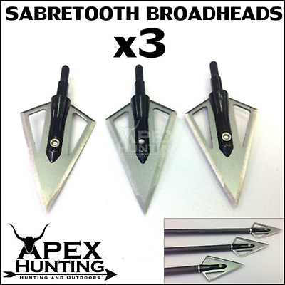 3X Sabretooth Broadheads 2 Blades Solid Steel Hunting Tips Compound Bow Archery