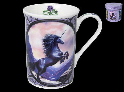 Anne Stokes Coffee Mug Cup bone China Gothic Fairy Fantasy Art Black Unicorn