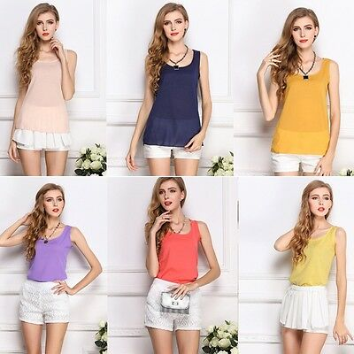 Women Summer Loose Casual Lace Chiffon Sleeveless Vest Tank T-Shirt Tops Blouse