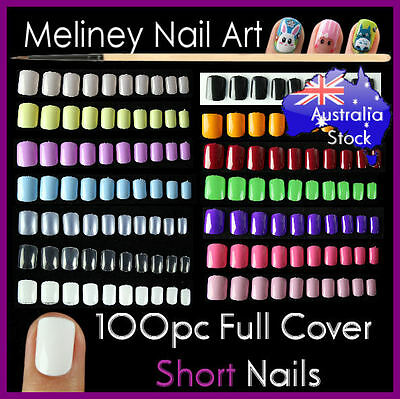 100pc Short Full Cover Colour Nail Tips Manicure False Art Acrylic Gel UV