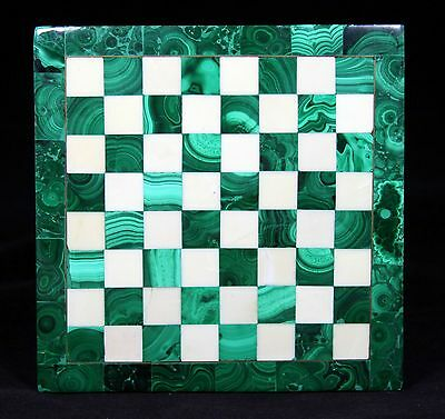 "BEAUTIFUL  ""Hand Made Malachte & White Marble Chess Set"""