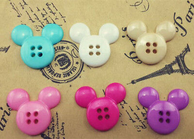 NEW 30PCS Mix Cute Mickey Plastic Button Fit Sewing or Scrapbook 21mm#O157