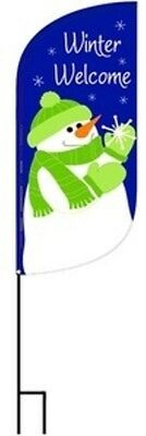 """Winter Welcome Garden Feather Banner Complete Set - Stand & Flag 12""""x48"""""""