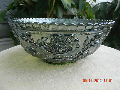 Antique Imperial Green Carnival Glass Bowl c. 1911-14-Open/Paneled Rose