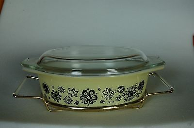 Vintage Rare Pyrex Pressed Flowers Baking / Casserole Dish Covered Bowl w stand