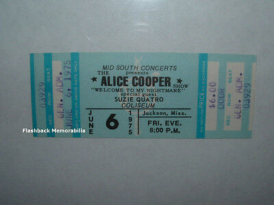 ALICE COOPER / SUZIE QUATRO Unused 1975 MINT Concert Ticket JACKSON MS Rare
