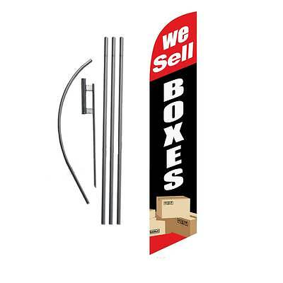 We Sell Boxes (black/red) 15' Feather Banner Swooper Flag Kit with pole+spike