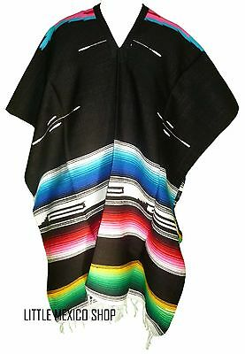 TRIBAL SERAPE Mexican PONCHO - BLACK - ONE SIZE FITS ALL Blanket Gaban