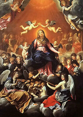 """Stunning Oil painting Guido Reni - the coronation of the virgin with angels 36"""""""
