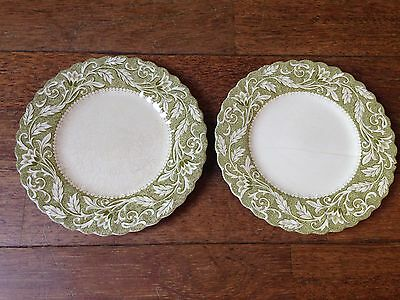 "SET 2 ANTIQUE STAFFORDSHIRE IRONSTONE J&G MEAKIN ENGLAND LUCERNE GREEN 7"" PLATES"