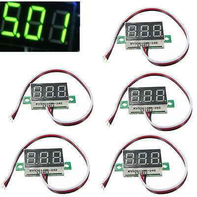5 Pcs Mini DC 0-32V 3-Digital Display Green LED Voltage Voltmeter Panel